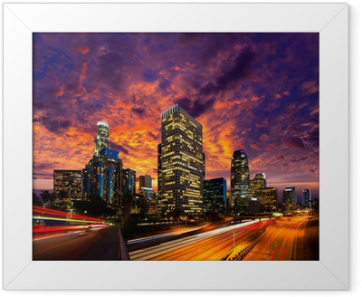 Downtown LA night Los Angeles sunset skyline California Framed Poster