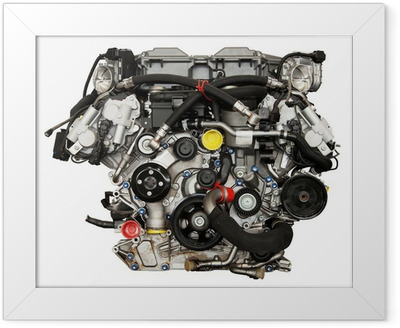 Modern powerful cars engine. Clipping path included. Framed Poster