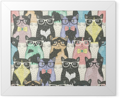 Çerçeveli Poster Çocuklar için yenilikçi sevimli kedi ile Seamless pattern