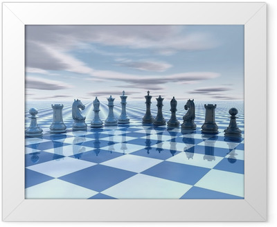 Poster in Cornice Chess background surreale