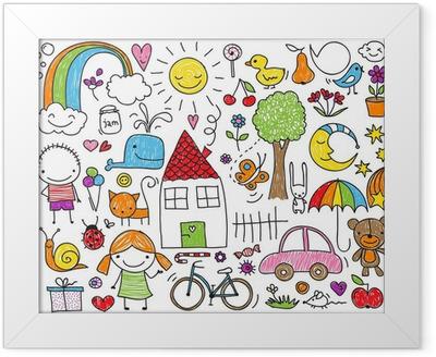 Gerahmtes Poster Kinder Doodle