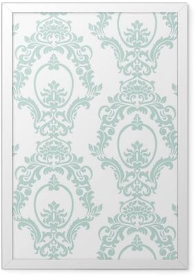 Plakat w ramie Wektor wzór adamaszku ornament w stylu imperialnym. ozdobny kwiatowy element na tkaniny, tekstylia, projektowanie, zaproszenia ślubne, karty z pozdrowieniami, tapety. opalowy kolor niebieski