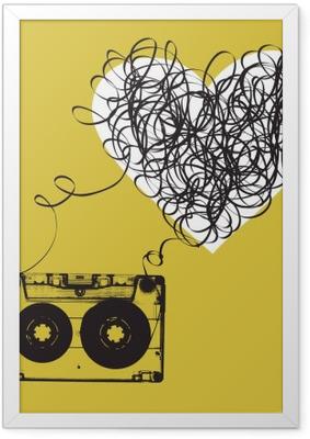 Poster en cadre Audiocassette avec du ruban emmêlés. forme Haert