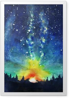 Ingelijste Poster Landschap. Forest, nachtelijke hemel, sterren, ruimte. Aquarel hand pijn