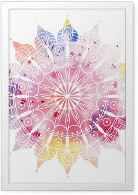 Ingelijste Poster Mandala kleurrijke aquarel. Mooie ronde patroon. Gedetailleerde abstracte patroon. Decoratief geïsoleerd.