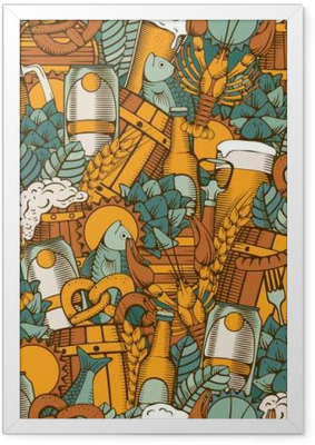 Beer seamless pattern Framed Poster