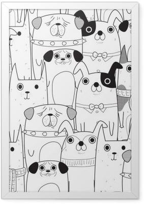 Póster Enmarcado Perros seamless pattern