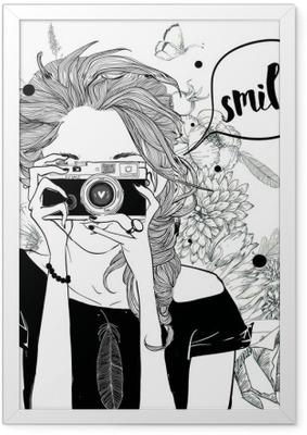 Poster en cadre Fille mignonne de bande dessinée
