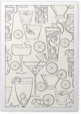 Seamless cocktail pattern Framed Poster