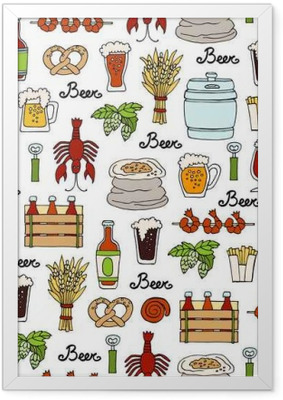 Pattern with hand drawn colored bottle and glass of beer, snacks in sketch style. Pattern on the theme of beer Framed Poster