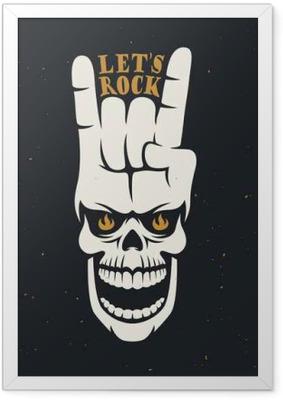 Çerçeveli Poster Kafatası ve el hareketi ile rock müzik ile ilgili afiş sağlar. Vektör çizim.