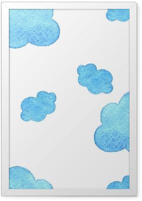 Poster in Cornice Sfondo di nuvole acquerello blu. modello. su bianco baground.