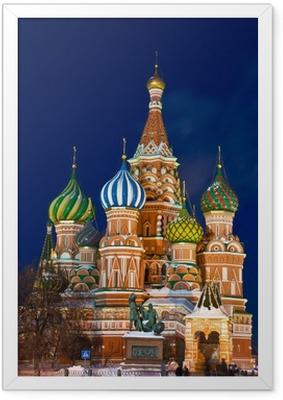 Poster in Cornice La cattedrale di San Basilio di notte, Mosca