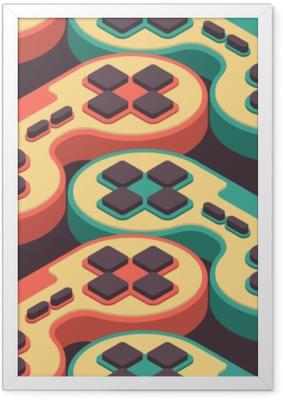 7121b81f Innrammet plakat Joystick retro sømløs mønster. gampad spillkonsoll 8 bit  tekstur. retro video spill