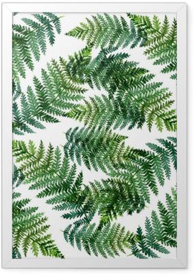 Ingelijste Poster Tropisch waterverf abstract patroon met varenbladeren