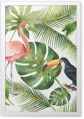 Gerahmtes Poster Nahtloses Muster des Aquarells der Kokosnuss- und Palmen getrennt auf weißem Hintergrund.