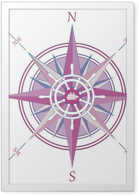 Vintage wind rose compass Framed Poster