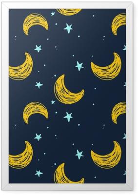Poster in Cornice Seamless con la luna e le stelle