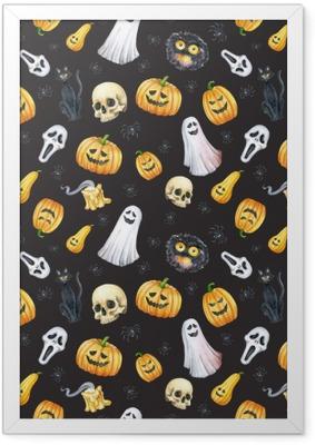 Poster i Ram Glad halloween sömlös mönster bakgrund. rolig pumpa, spöke, svart katt, monster. akvarell illustration