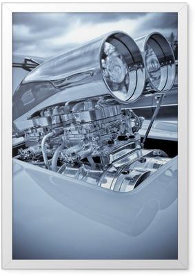 Ingelijste Poster Verchroomde performance auto supercharger