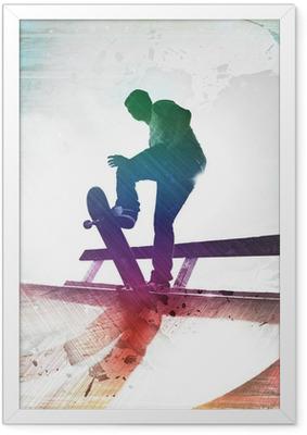 Ingelijste Poster Grungy Skateboarder