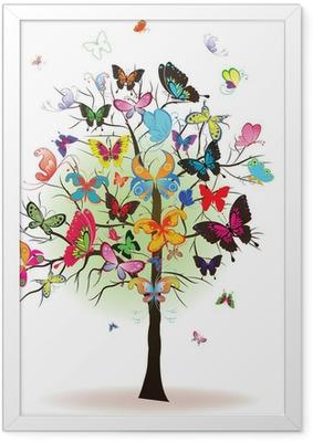 Plakat w ramie Drzewo z motyla, element projektu, ilustracji wektorowych
