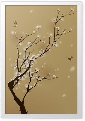 Póster Enmarcado Pintura oriental del estilo, flor del ciruelo en primavera