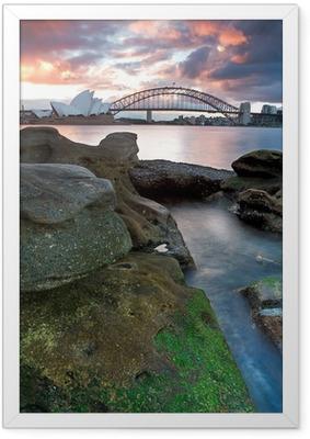 Sydneyn oopperatalo ja sataman silta Kehystetty juliste