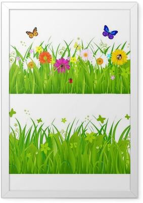 Gerahmtes Poster Grünes Gras mit Blumen und Insekten