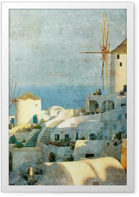 Gerahmtes Poster Vintage Bild von Dorf Oia auf Santorini Insel, Griechenland