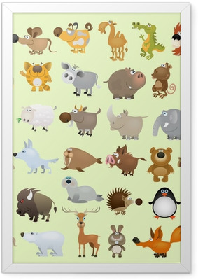 Gerahmtes Poster Big vector cartoon animal set