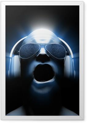DJ with Headphones Framed Poster