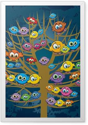 Poster en cadre Drôles d'oiseaux et des arbres