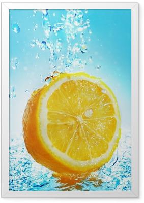 Water splash on lemon Framed Poster