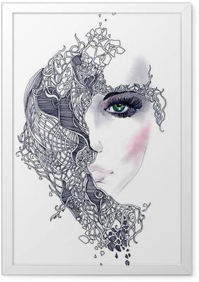 Plakat w ramie Streszczenie twarz kobiety