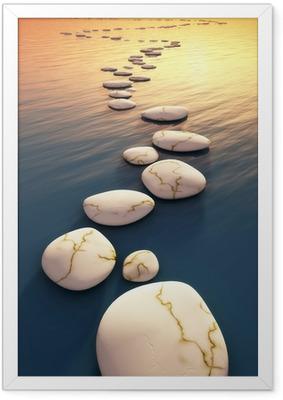 Plakat w ramie Kamienie krok słońca