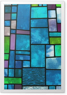 Flerfarvet farvet blåt glasvindue, kvadratisk format Indrammet plakat