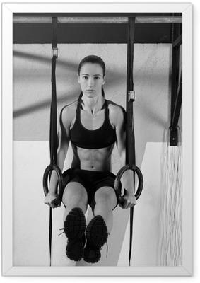 Poster en cadre CrossFit dip workout anneau au gymnase trempage - Destin