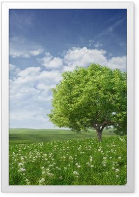 Póster Enmarcado Paisaje de verano con el árbol verde