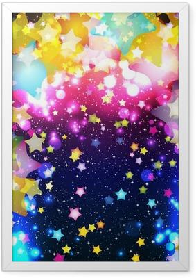 Ingelijste Poster Heldere kleurrijke vliegende sterren op een fantastisch design achtergrond.