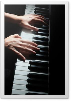 Poster en cadre Touches de piano pianiste mains clavier
