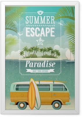 Plakat w ramie Vintage plakat widok nadmorski z surfowania van. Wektor tła.