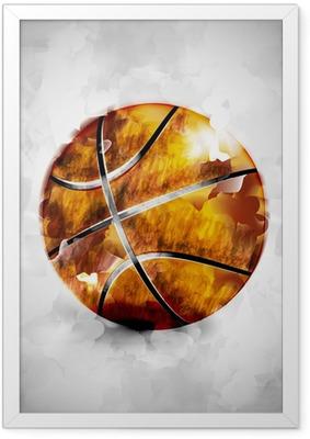 Póster Enmarcado Baloncesto bola de la acuarela