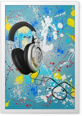 vector abstract headphones composition Framed Poster