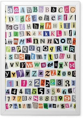 Vector Ransom Note- Cut Paper Letters, Numbers, Symbols Framed Poster