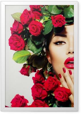 Gerahmtes Poster Schönheit Mode Modell Mädchen-Portrait mit roten Rosen Frisur