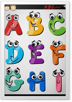 funny letters alphabet cartoon illustration Framed Poster
