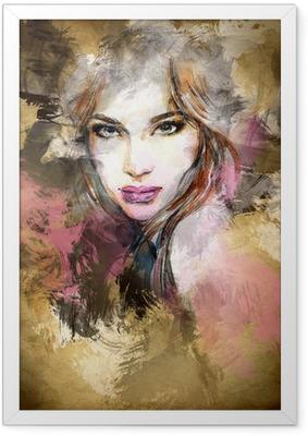 Plakat w ramie Piękna twarz kobiety. Akwarele ilustracji