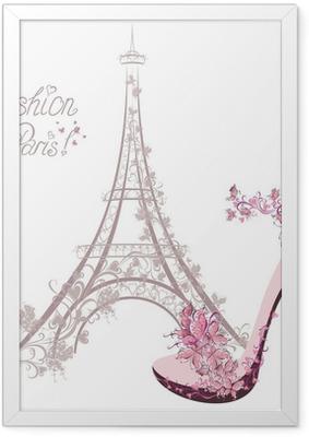 Póster Enmarcado Zapatos de tacón alto en el fondo de la Torre Eiffel. La moda de París