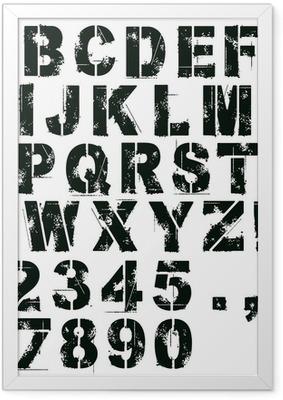 Poster en cadre Pochoir lettres et des chiffres